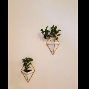 Set 2 Hanging Planter Vase & Geometric Wall Decor